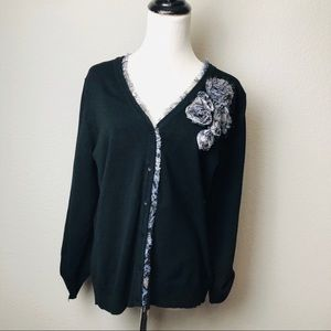 RED   black cardigan with 3D flower size L